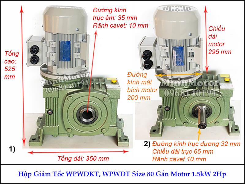 Hộp số giảm tốc cốt âm 1.5Kw 2Hp WPWDKT, trục ngang size 80