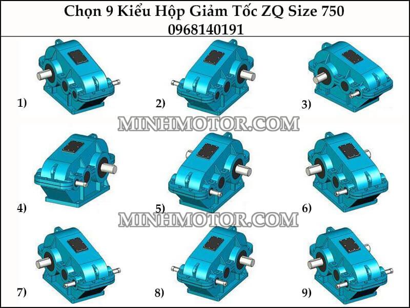 chọn 9 kiểu hộp số giảm tốc ZQ size 750