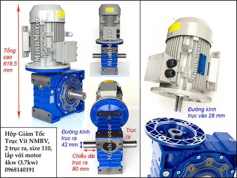 Hộp giảm tốc 2 đầu ra motor 4kw 3.7kw NMRV 110