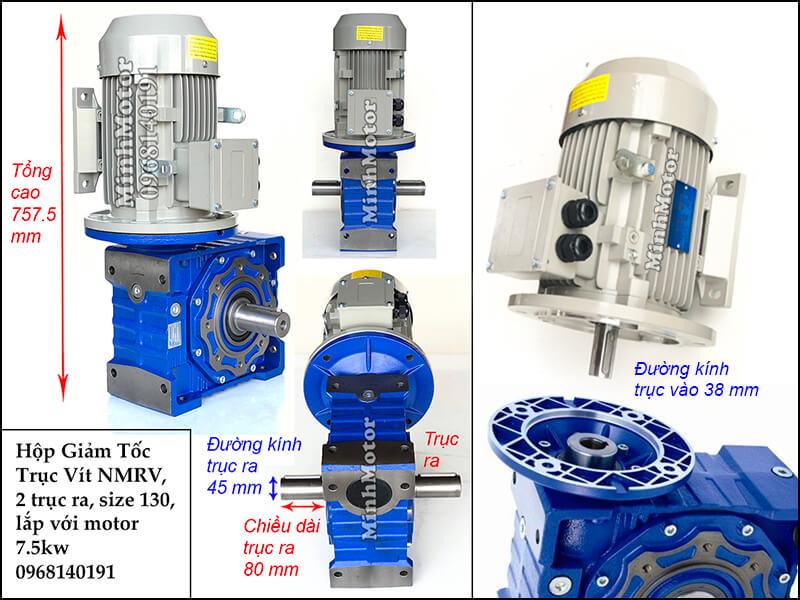 Hộp giảm tốc 2 đầu ra motor 7.5kw NMRV 130