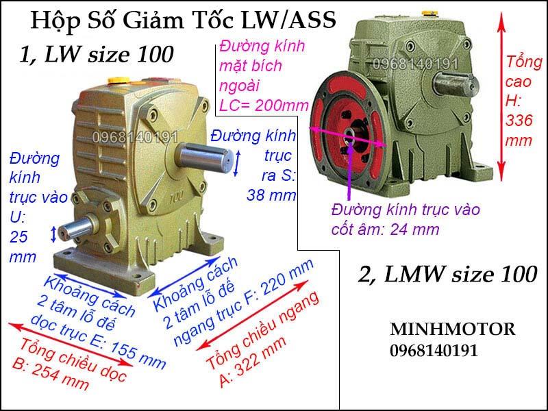 Hộp giảm tốc LW ASS size 100