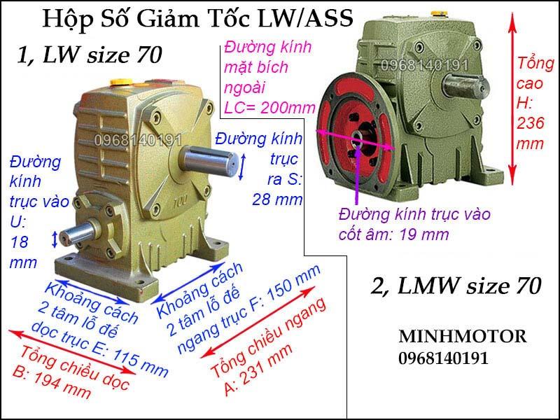 Hộp giảm tốc LW ASS size 70