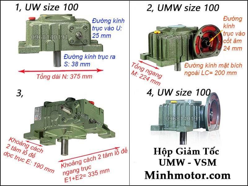 Hộp giảm tốc UMW VSM size 100