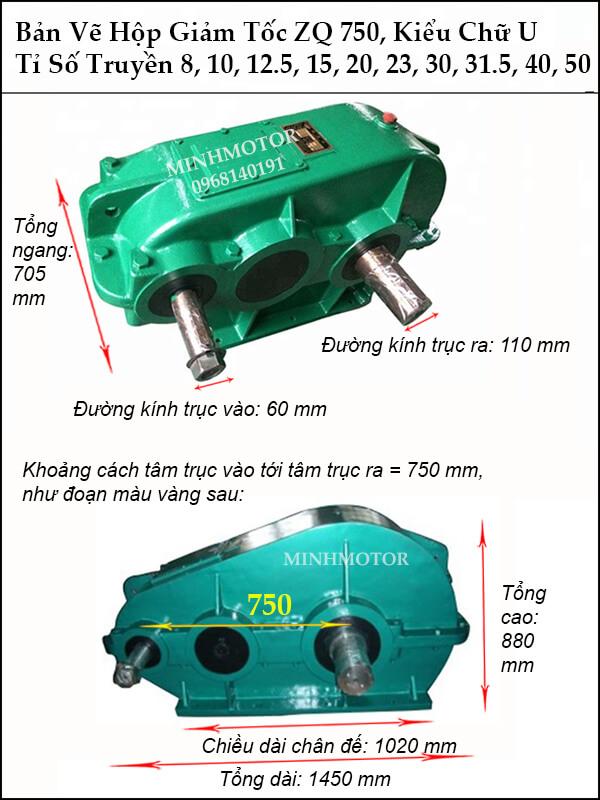 Thông số kích thước hộp giảm tốc ZQ 750, trục ra, trục vào cùng phía