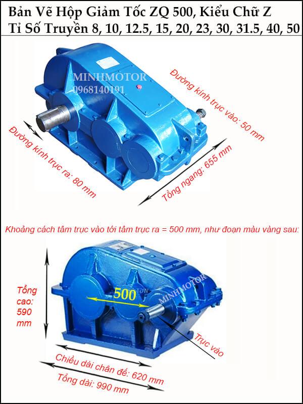 Thông số kích thước hộp giảm tốc ZQ 500, trục ra, trục vào khác phía