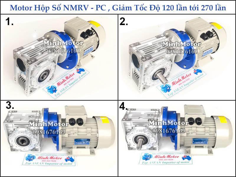 Hộp số NMRV + PC size 63 ratio 37, 75, 125, 150, 200