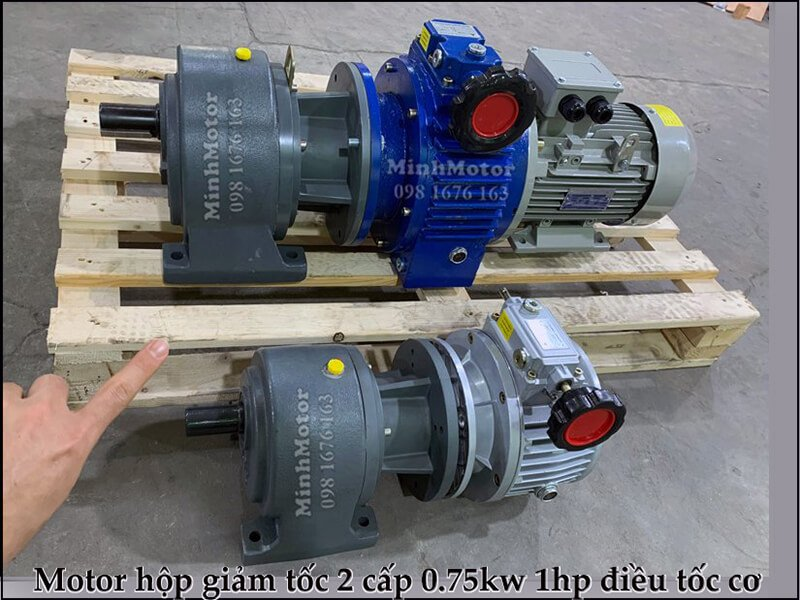 hộp giảm tốc 2 cấp 0.75kw 1hp điều tốc cơ