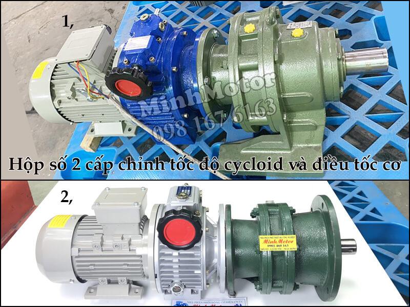Hộp số 2 cấp chỉnh tốc độ cycloid và điều tốc cơ