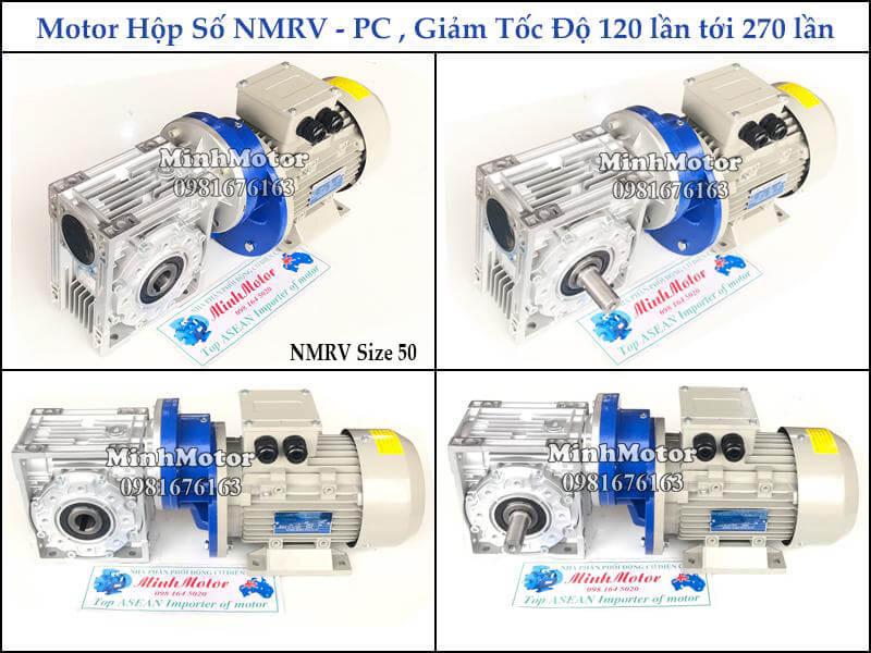 hộp giảm tốc 2 cấp nmrv size 50 gắn hộp giảm tốc tăng cường pc