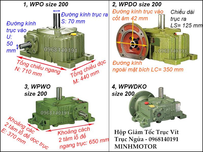 Kích thước hộp giảm tốc trục vít WPO size 200, WPDO size 200