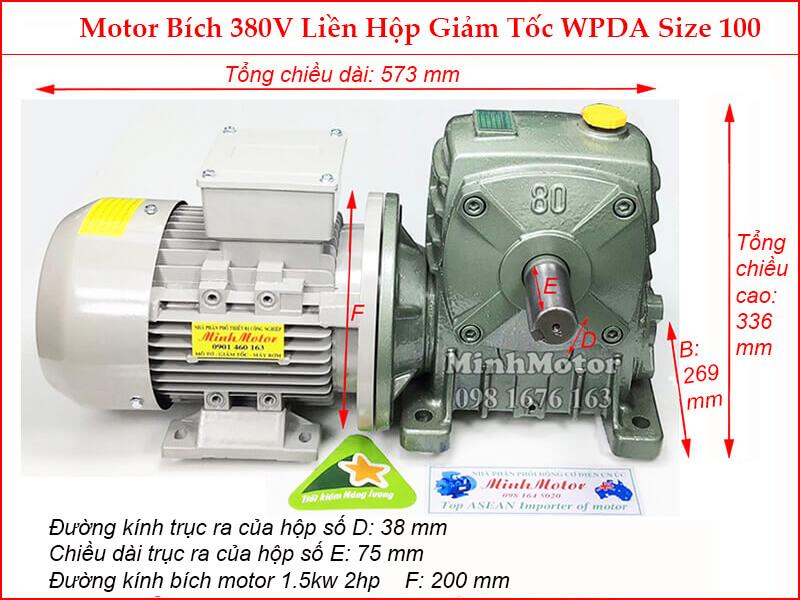 motor liền hộp giảm tốc mặt bích wpda size 100