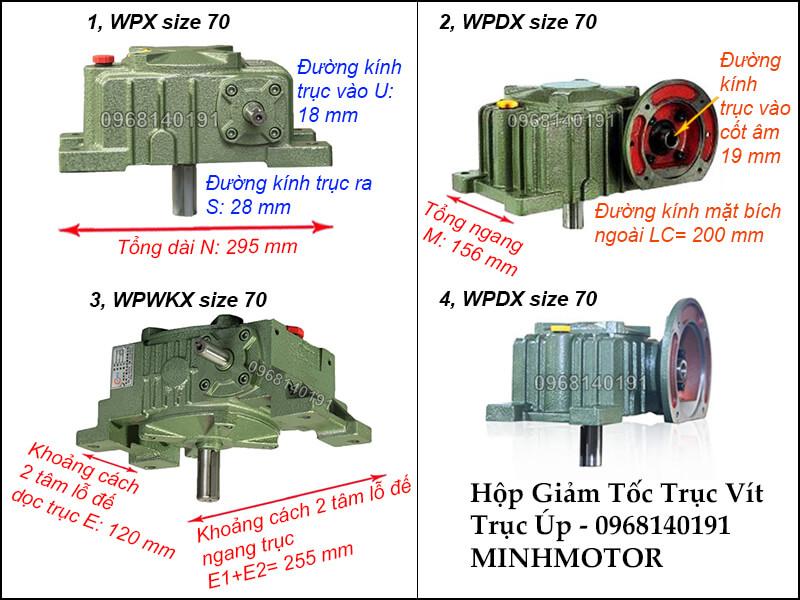 bản vẻ hộp giảm tốc trục vít wpx size 70