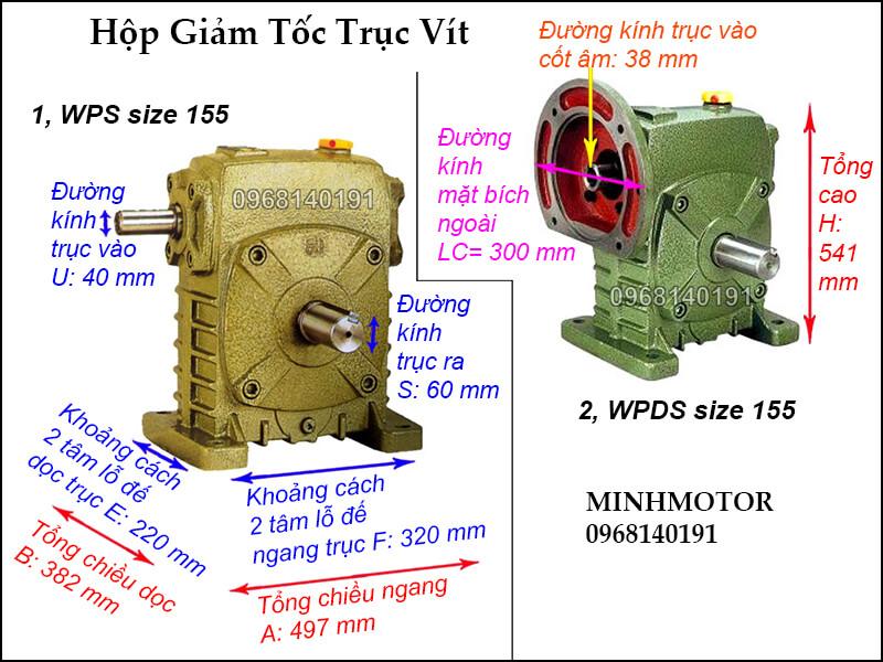 thông số kích thước hộp giảm tốc trục vít wps size 155