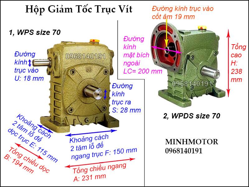 thông số kích thước hộp giảm tốc trục vít WPS size 70