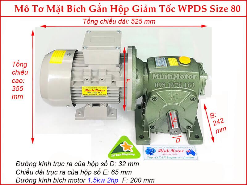 Bản vẽ kỹ thuật motor liền hộp giảm tốc mặt bích WPDS size 80