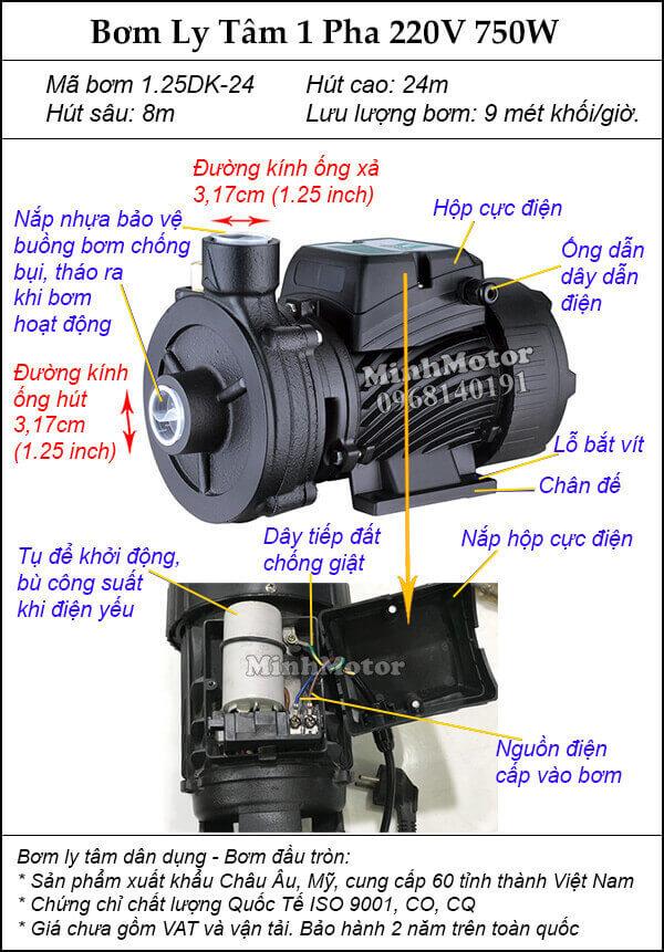 Máy Bơm Ly Tâm 750w 1hp 1.25DK-24