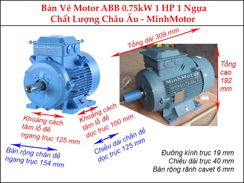 bản vẽ motor ABB chân đế 0.75Kw 1Hp 1 ngựa
