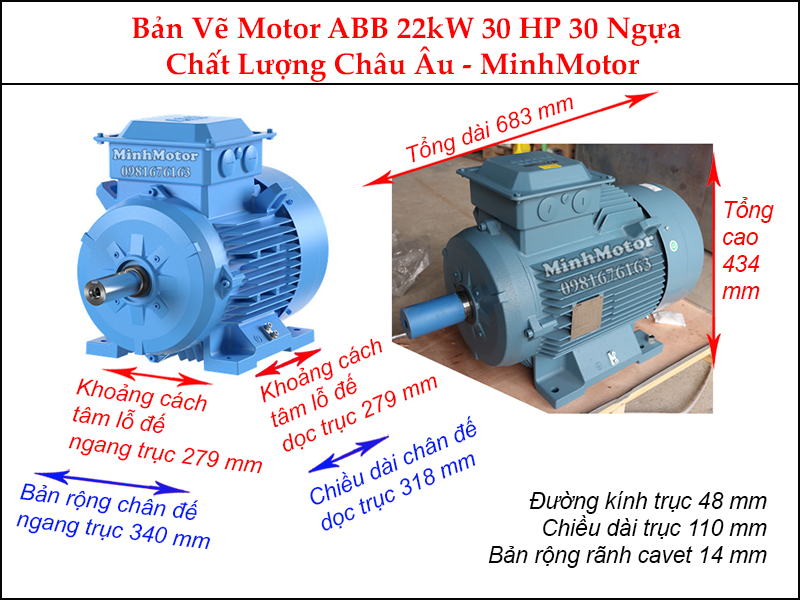 bản vẽ motor ABB chân đế 22Kw 30Hp 30 ngựa