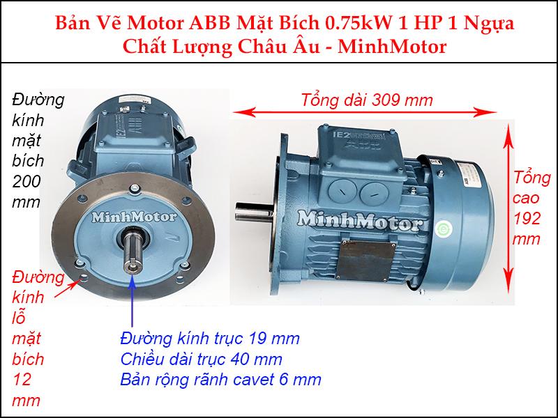 bản vẽ motor ABB mặt bích 0.75Kw 1Hp 1 ngựa