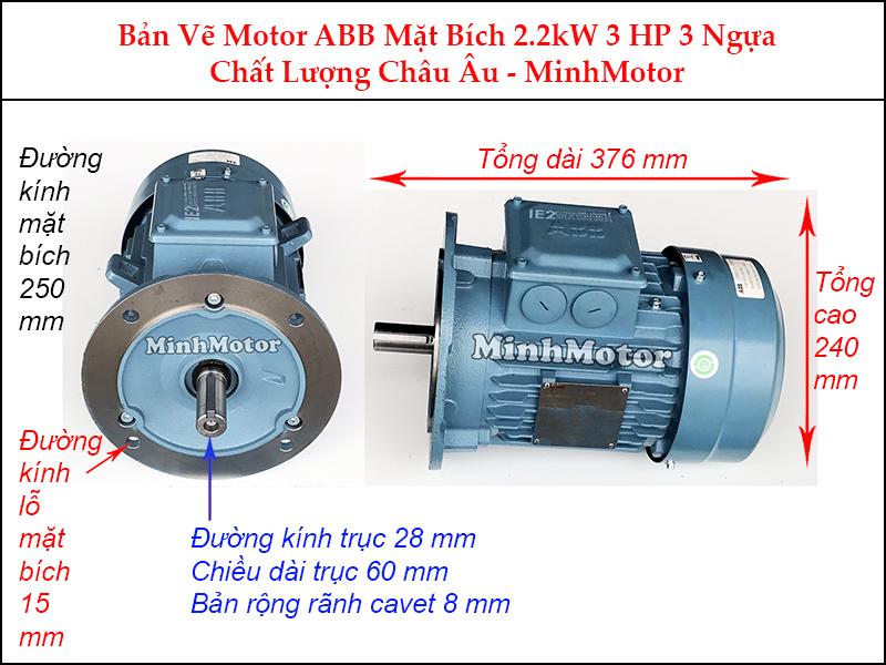 bản vẽ motor ABB mặt bích 2.2Kw 3Hp 3 ngựa