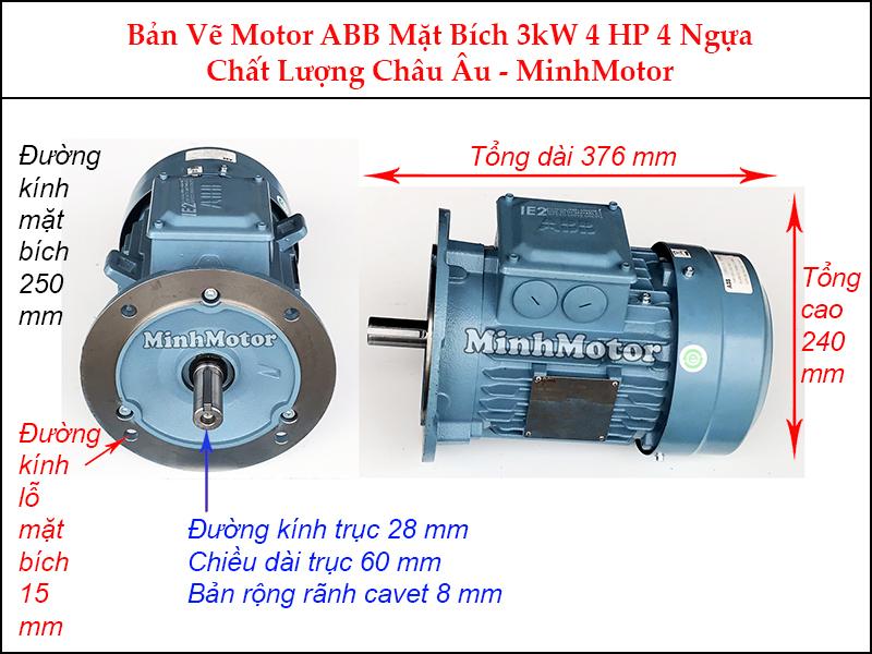 bản vẽ motor ABB mặt bích 3Kw 4Hp 4 ngựa