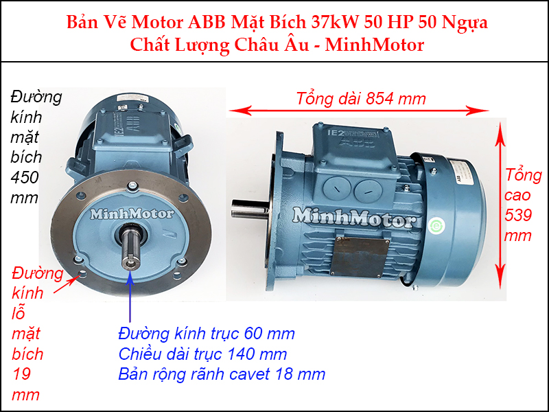 bản vẽ motor ABB mặt bích 37Kw 50Hp 50 ngựa