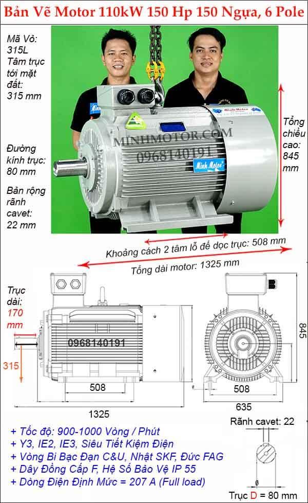 Kích thước động cơ điện 3 pha 110kw 150Hp chân đế, 6 Pole