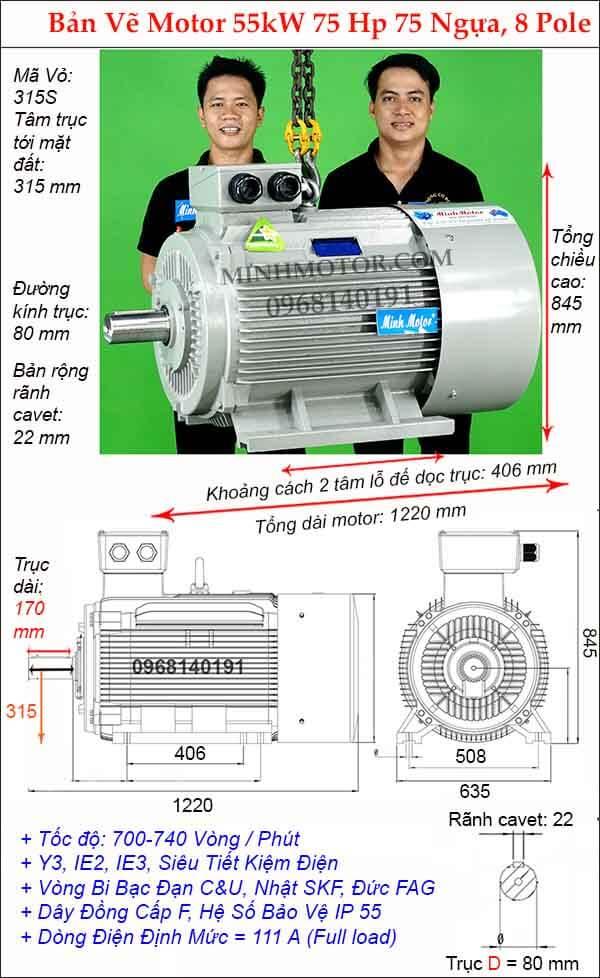 Kích thước motor điện 3 pha 75hp 55kw, 8 Pole