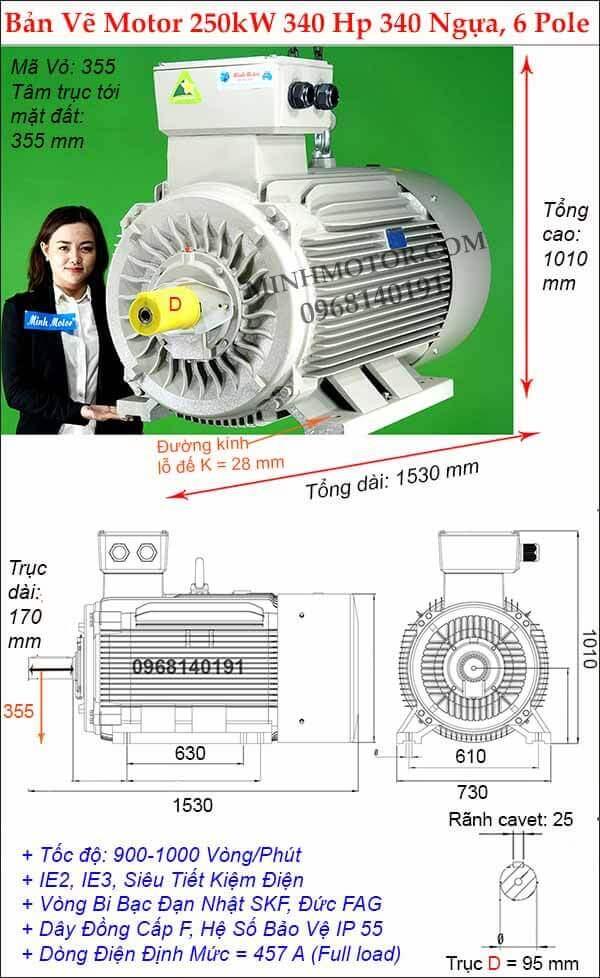Kích thước động cơ điện 3 pha 340Hp 250kw chân đế, 6 Pole