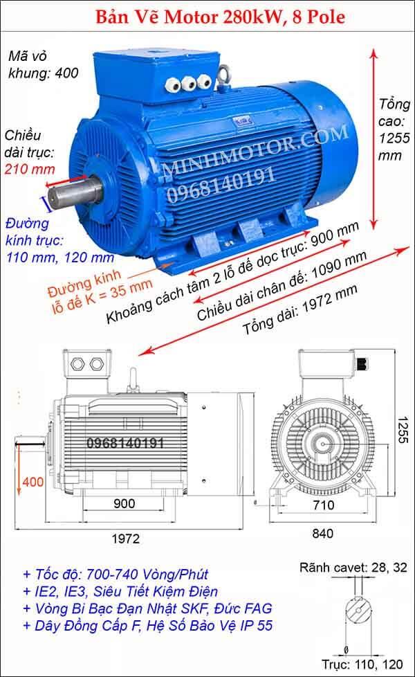 Bản vẽ kỹ thuật động cơ điện 3 pha 380Hp 280kw, 8 Pole