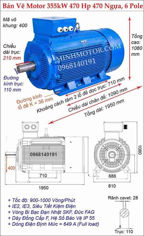Kích thước động cơ điện 3 pha 470Hp 355kw chân đế, 6 Pole