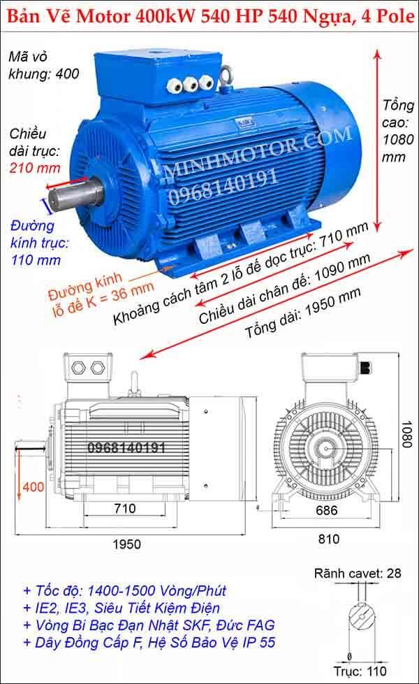 Kích thước bản vẽ động cơ điện 3 pha 540Hp 400kw, 4 Pole