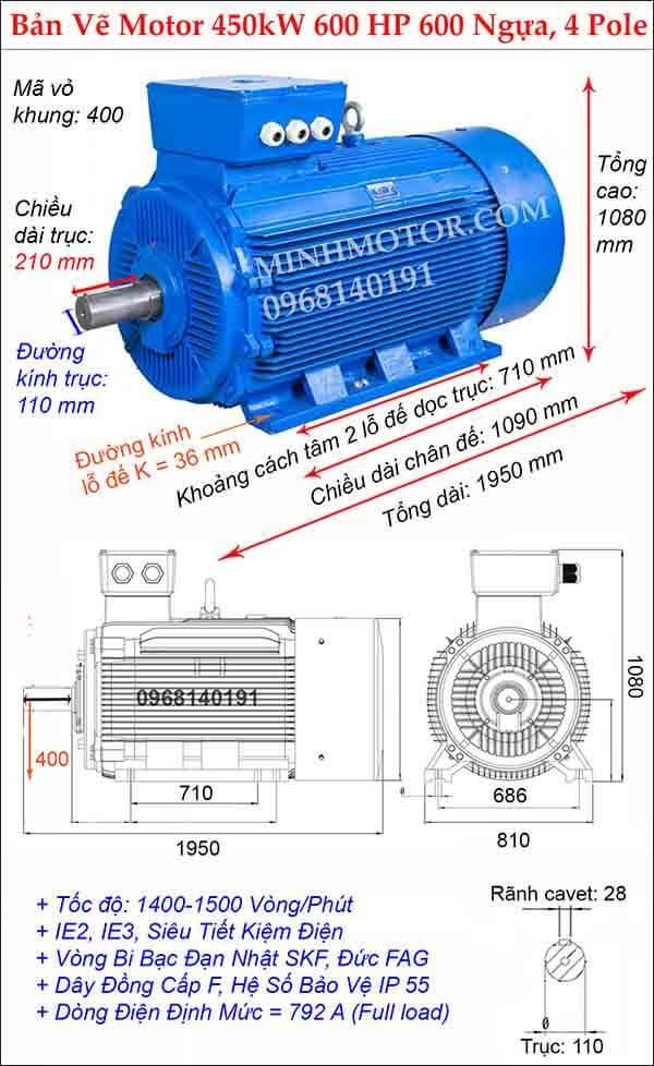 Bản vẽ động cơ điện 3 pha 600 Hp 450kw chân đế, 4 Pole