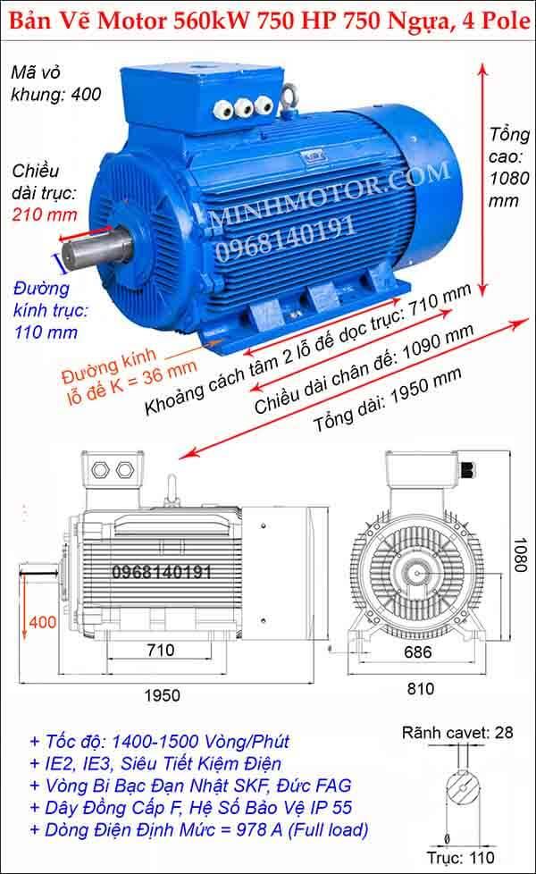 Bản vẽ động cơ điện 3 pha 750Hp 560kw, 4 Pole