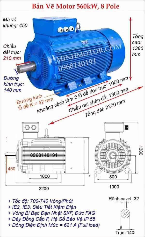 Thông số bản vẽ động cơ điện 3 pha 560kw, 8 Pole