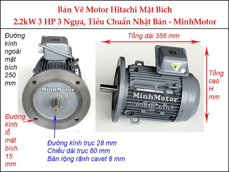bản vẽ motor Hitachi mặt bích 2.2Kw 3Hp 3 ngựa