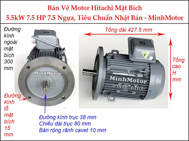 bản vẽ motor Hitachi mặt bích 5.5Kw 7.5Hp 7.5 ngựa