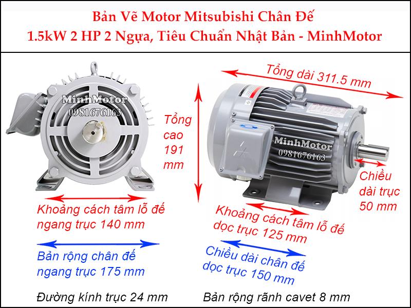 bản vẽ motor mitsubishi chân đế 1.5kw 2hp 2 ngựa