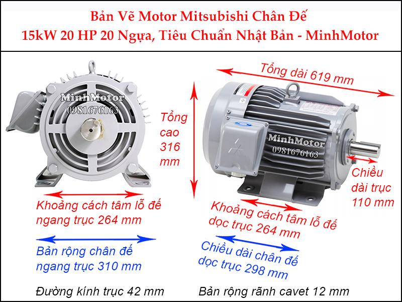 bản vẽ motor mitsubishi chân đế 15kw 20hp 20 ngựa