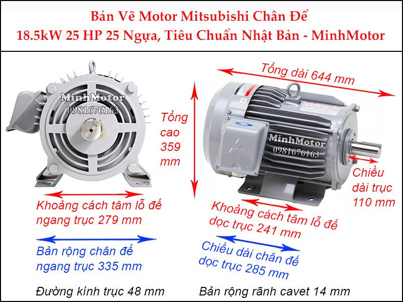 bản vẽ motor mitsubishi chân đế 18.5kw 25hp 25 ngựa