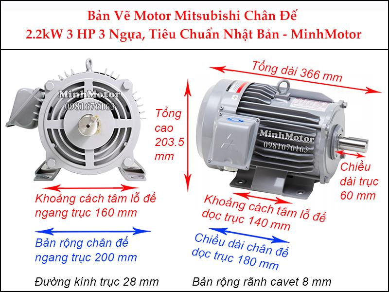 bản vẽ motor mitsubishi chân đế 2.2kw 3hp 3 ngựa