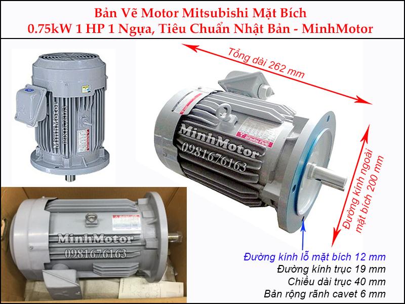 bản vẽ motor mitsubishi mặt bích 0.75kw 1hp 1 ngựa