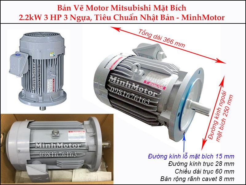 bản vẽ motor mitsubishi mặt bích 2.2kw 3hp 3 ngựa
