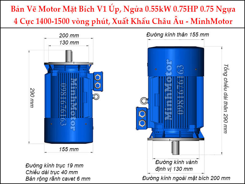 motor mặt bích V1 úp ngửa 0.55Kw 0.75Hp 4 cực