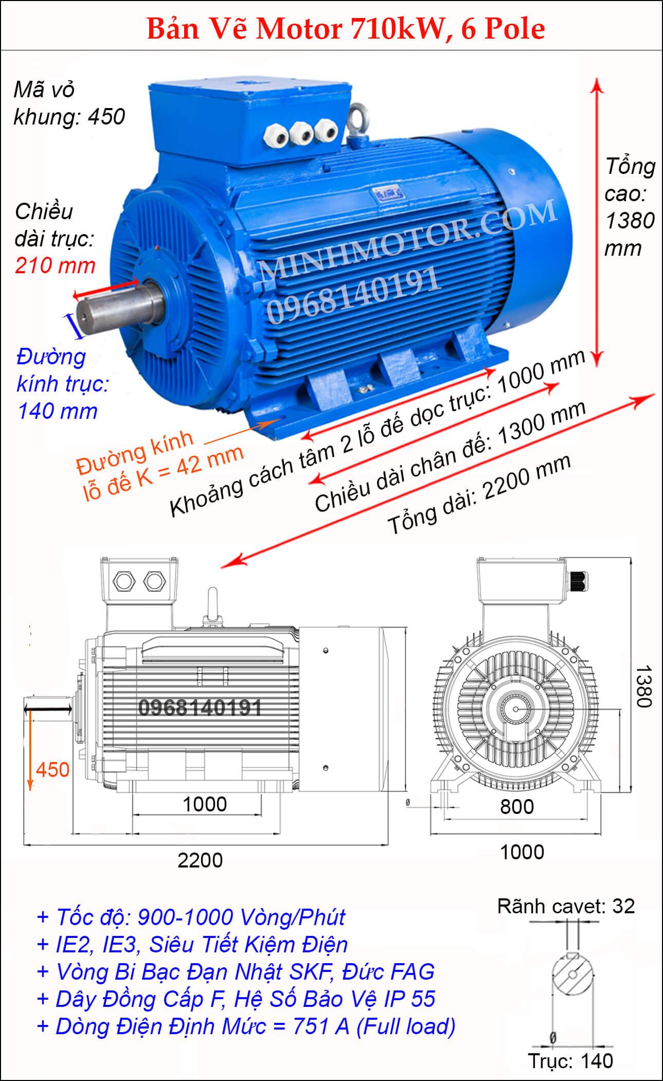 Kích thước động cơ điện 3 pha 950Hp 710kw chân đế, 900 - 1000 vòng/phút