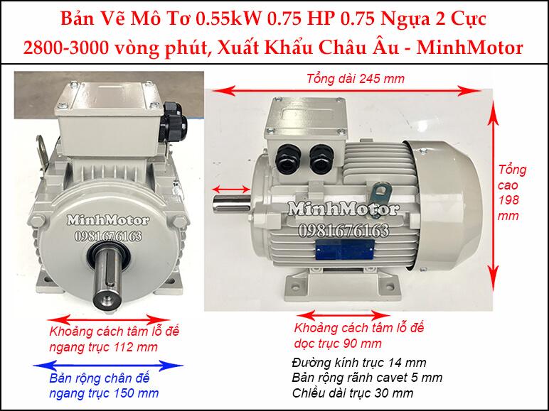 Bản vẽ motor chân đế 0.55kW 0.75HP 0.75 Ngựa 2 Cực