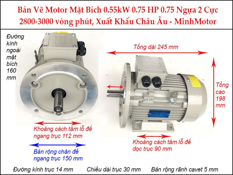Bản vẽ motor mặt bích 0.55kW 0.75HP 0.75 Ngựa 2 Cực