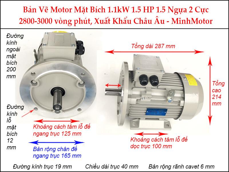 Bản vẽ motor mặt bích 1.1kW 1.5Hp 1.5 ngựa 2 Cực