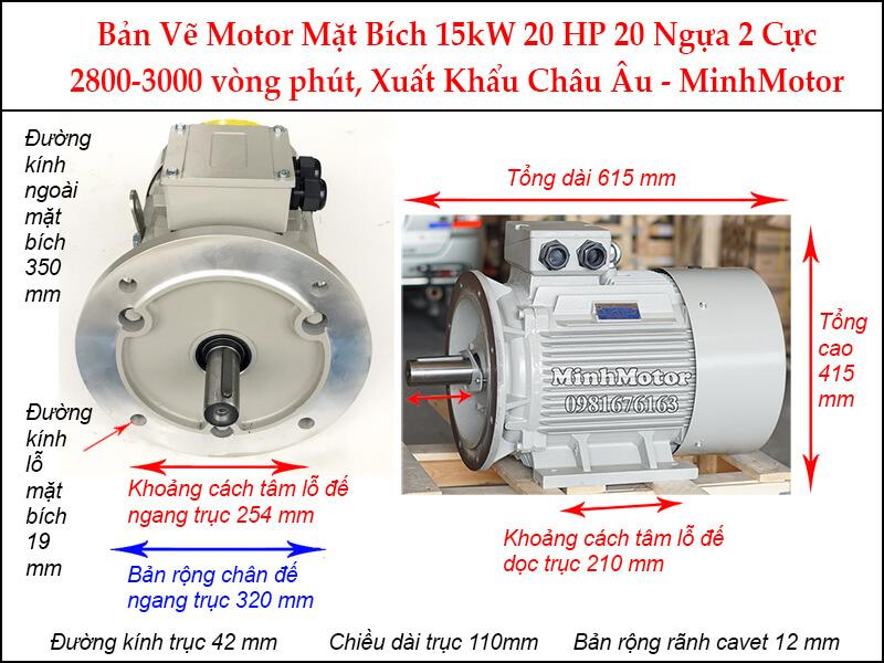 Parma motor 2 cực mặt bích 3 pha 15Kw 20Hp
