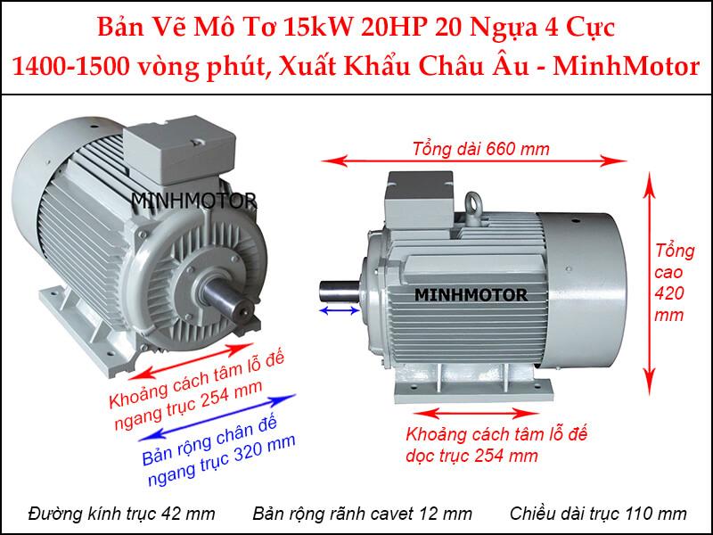 Parma motor 4 cực chân đế 3 pha 15Kw 20Hp